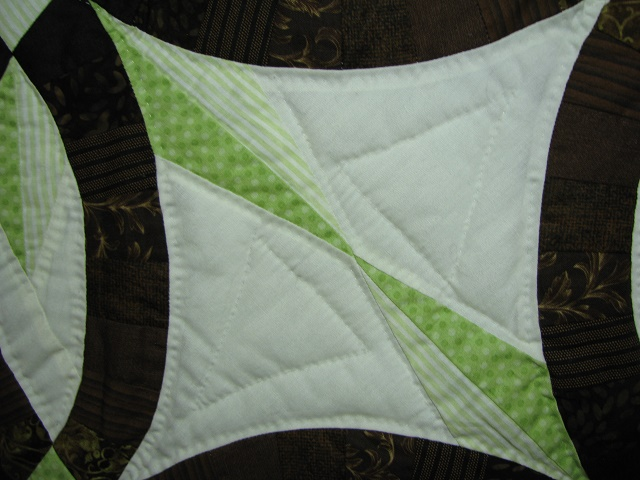 Brown with Green Star Wedding Ring Quilt Photo 6