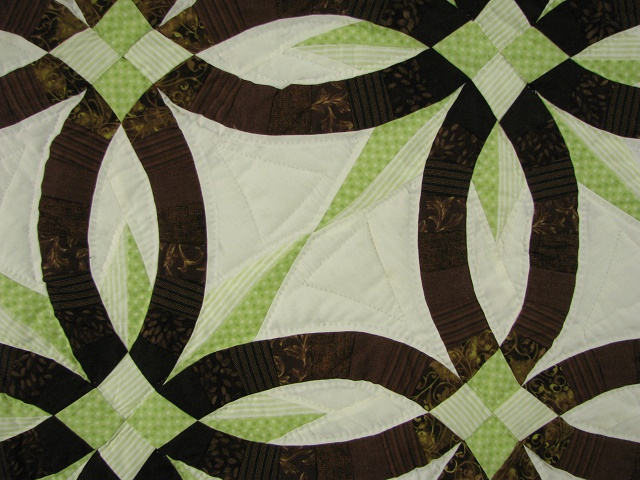Brown with Green Star Wedding Ring Quilt Photo 7
