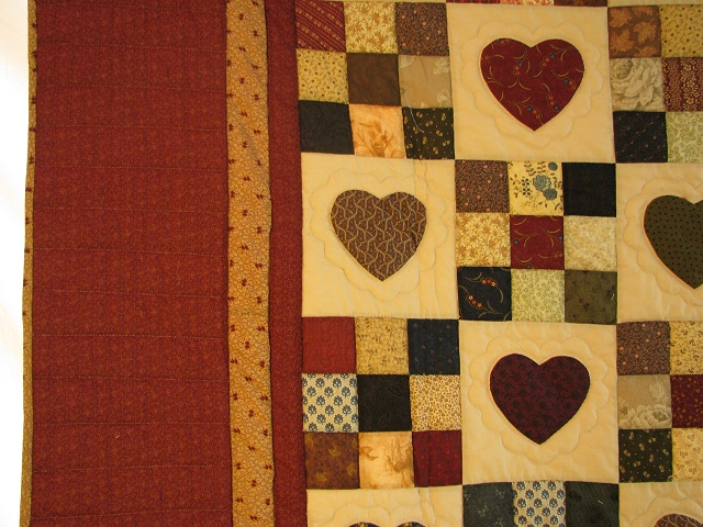 KING Burgundy Hearts and Nine Patch Quilt Photo 4
