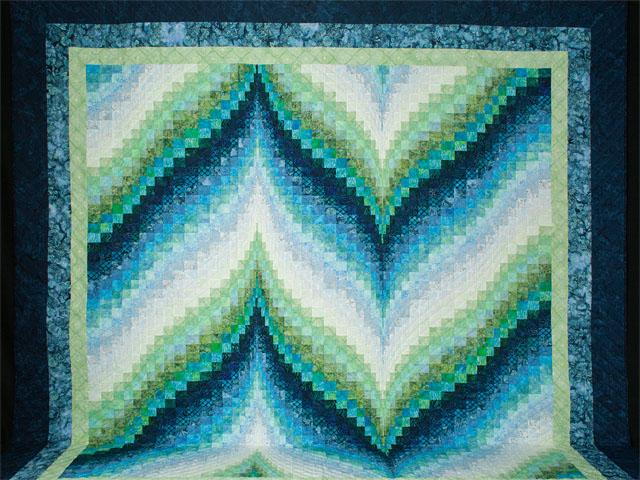 Bargello Flame - Beautiful blues/aquas/greens batiks King size bed quilt Photo 2