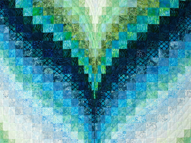 Bargello Flame - Beautiful blues/aquas/greens batiks