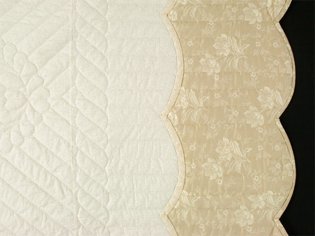 Lancaster Treasure in ivory with tan floral border King size hand appliqued and hand quilted Photo 5