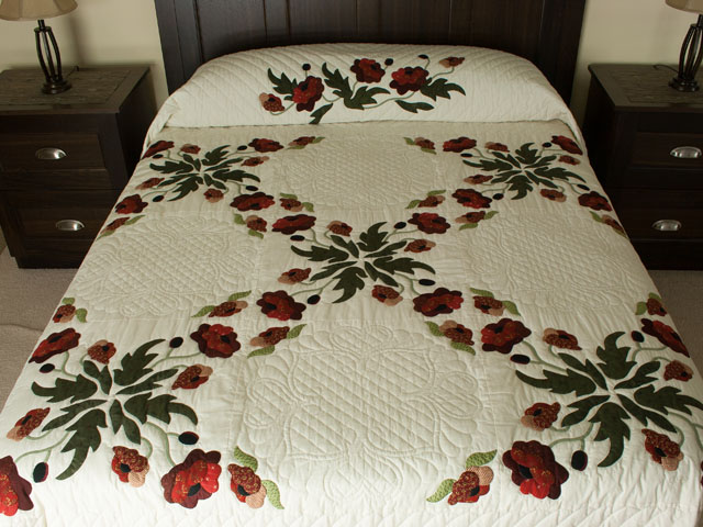 Poppy Fields King Hand Appliqué, Hand Quilted Burgundy and green on ivory Photo 1