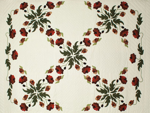 Poppy Fields King Hand Appliqué, Hand Quilted Burgundy and green on ivory Photo 3