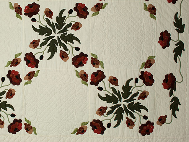 Poppy Fields King Hand Appliqué, Hand Quilted Burgundy and green on ivory Photo 4
