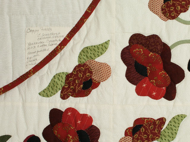 Poppy Fields King Hand Appliqué, Hand Quilted Burgundy and green on ivory Photo 6