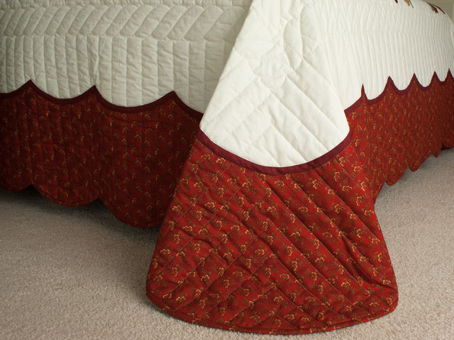 Poppy Fields King Hand Appliqué, Hand Quilted Burgundy and green on ivory Photo 7