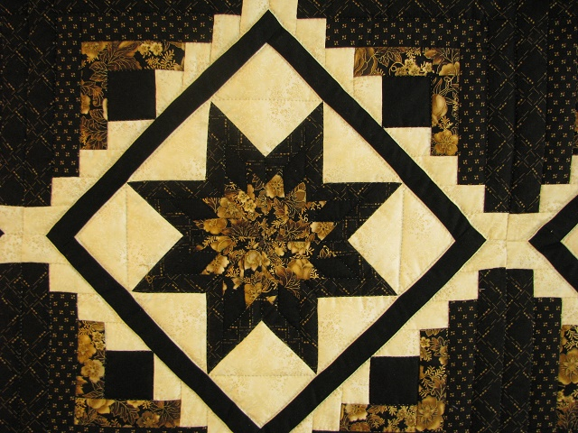 Black and Gold Log Cabin with Stars Quilt Photo 5
