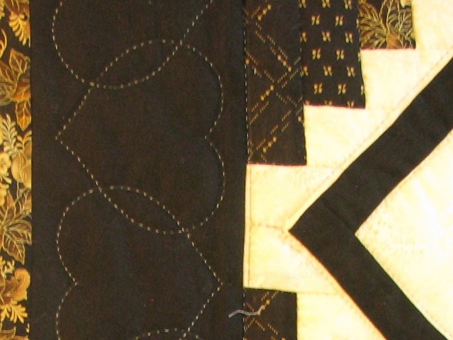 Black and Gold Log Cabin with Stars Quilt Photo 6