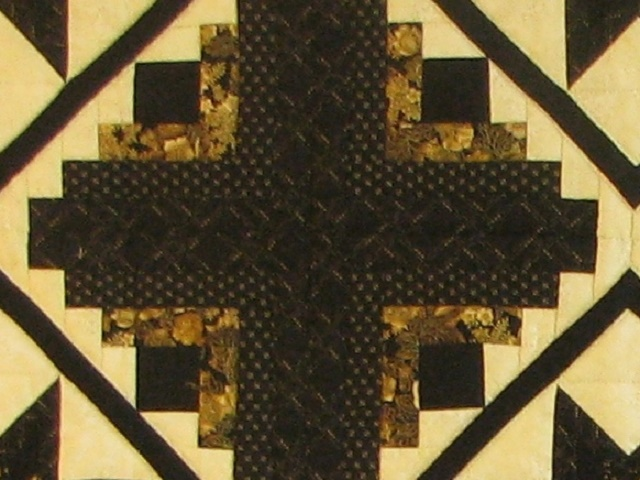 Black and Gold Log Cabin with Stars Quilt Photo 7