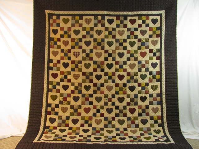Plum Hearts and Nine Patch Quilt Photo 2