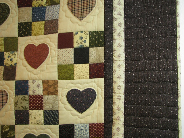 Plum Hearts and Nine Patch Quilt Photo 4
