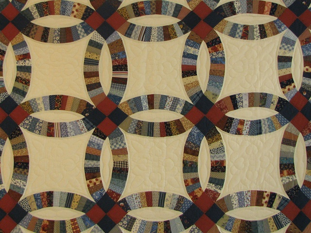 Blue and Multi Retro Double Wedding Ring Quilt Photo 3