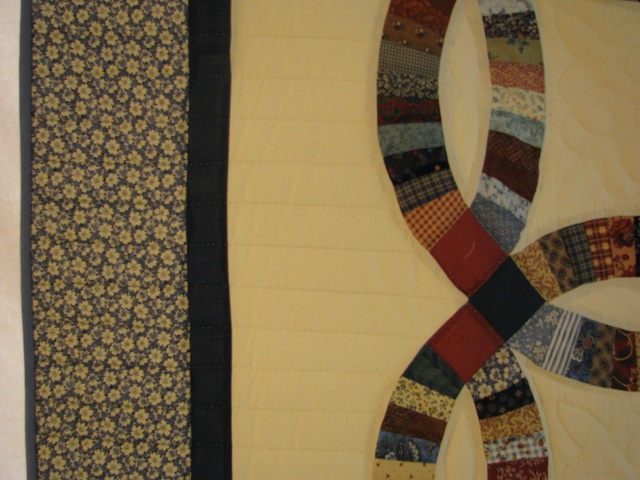 Blue and Multi Retro Double Wedding Ring Quilt Photo 4