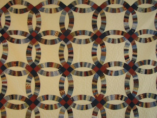 Blue and Multi Retro Double Wedding Ring Quilt Photo 8