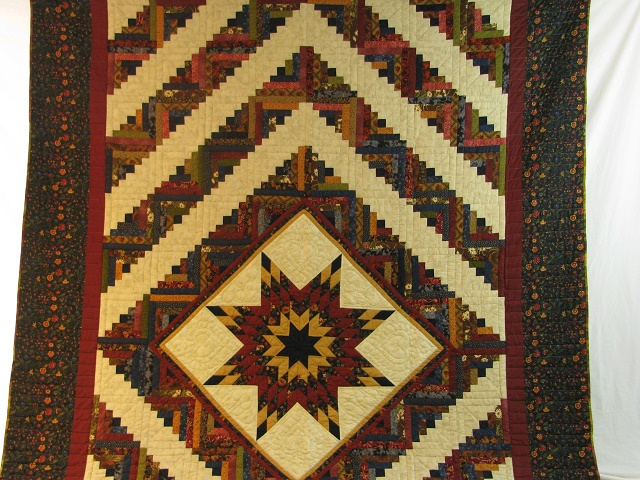 Burgundy Navy and Beige Lone Star Log Cabin Quilt Photo 2