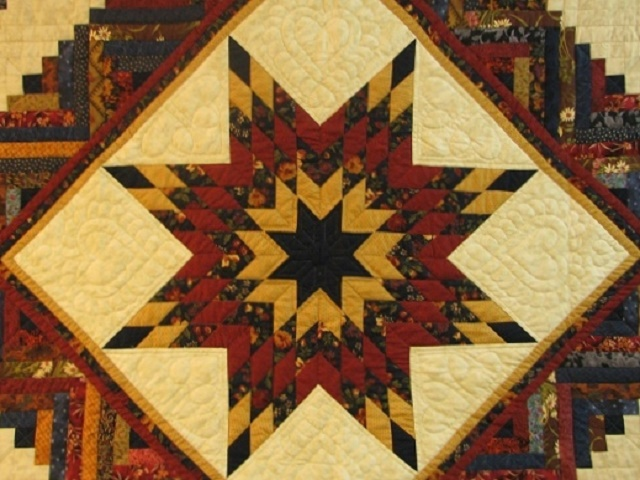 Burgundy Navy and Beige Lone Star Log Cabin Quilt Photo 3