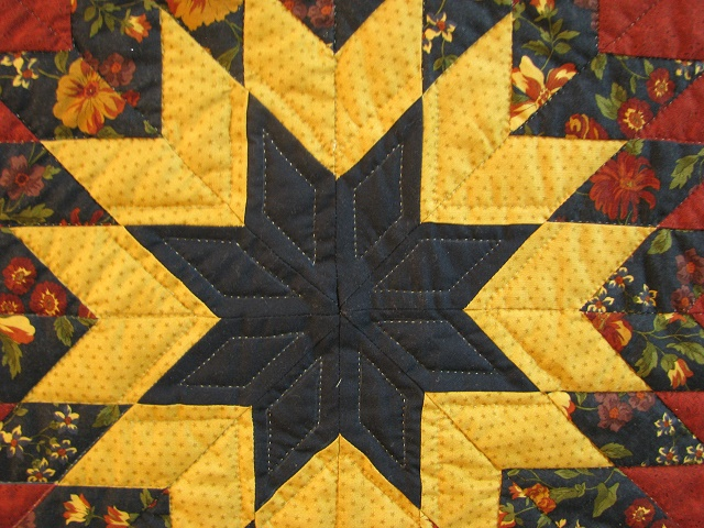 Burgundy Navy and Beige Lone Star Log Cabin Quilt Photo 5