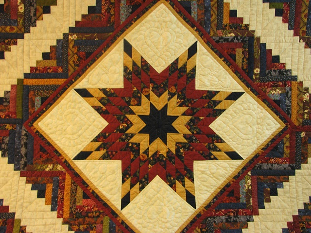 Burgundy Navy and Beige Lone Star Log Cabin Quilt Photo 7