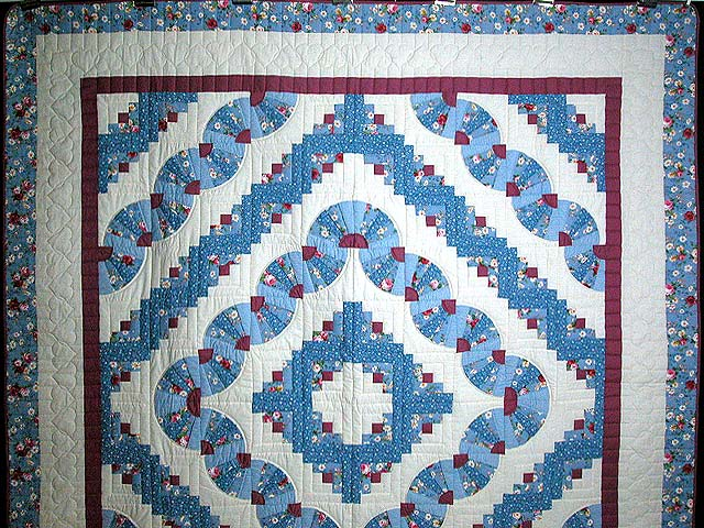 King Blue and Raspberry Log Cabin Fans Quilt Photo 2