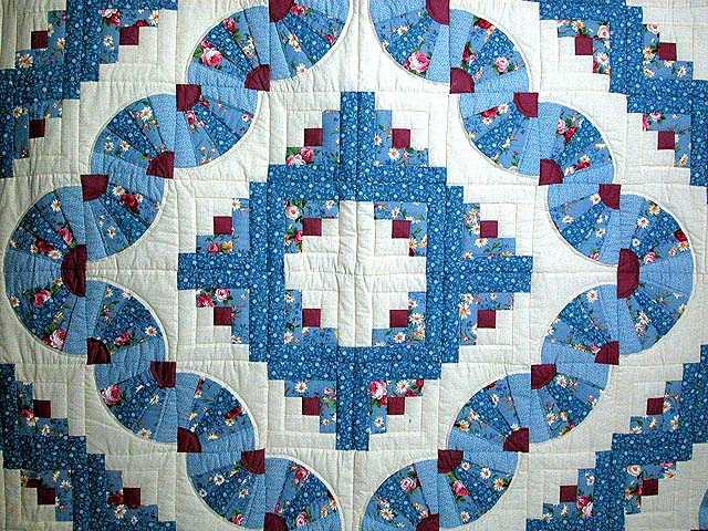 King Blue and Raspberry Log Cabin Fans Quilt Photo 3