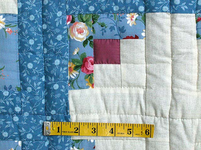 King Blue and Raspberry Log Cabin Fans Quilt Photo 4