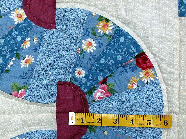 King Blue and Raspberry Log Cabin Fans Quilt Photo 5