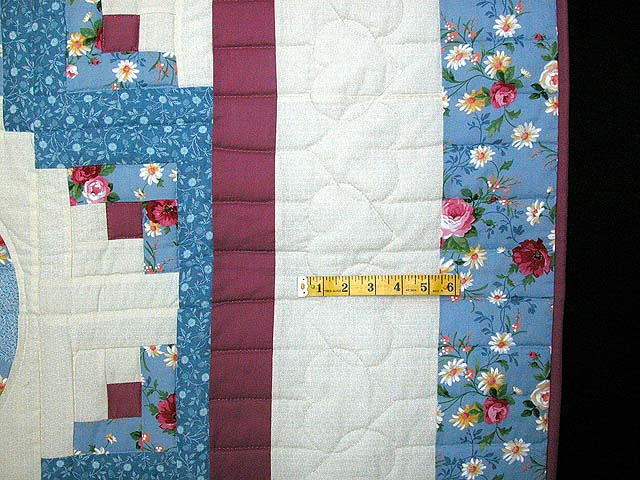 King Blue and Raspberry Log Cabin Fans Quilt Photo 6