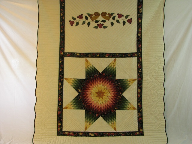 Twin Green and Rose Lone Star Quilt Photo 2
