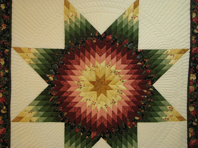 Twin Green and Rose Lone Star Quilt Photo 3