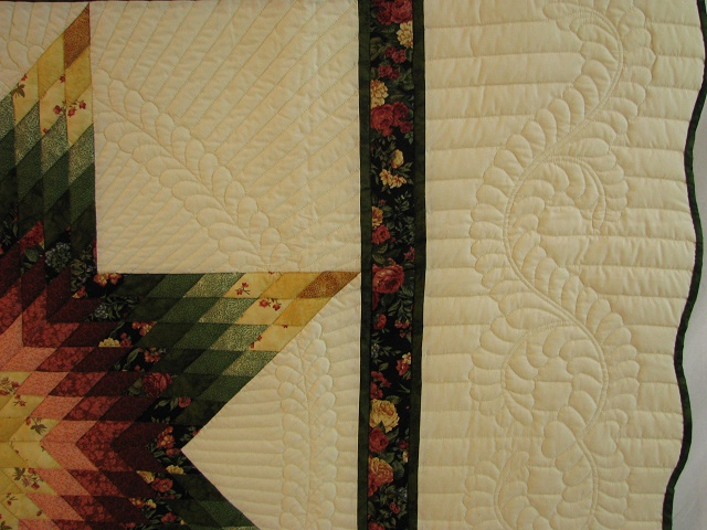 Twin Green and Rose Lone Star Quilt Photo 4