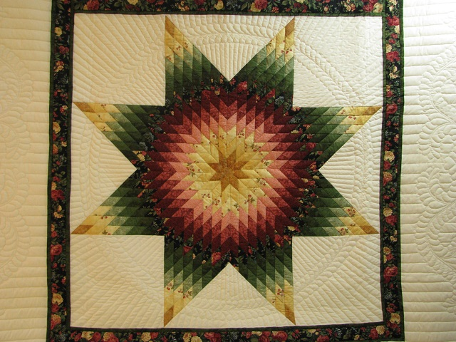 Twin Green and Rose Lone Star Quilt Photo 8
