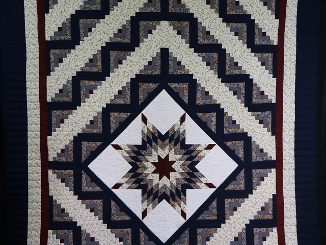Blue and Burgundy Lone Star Log Cabin Quilt Photo 2