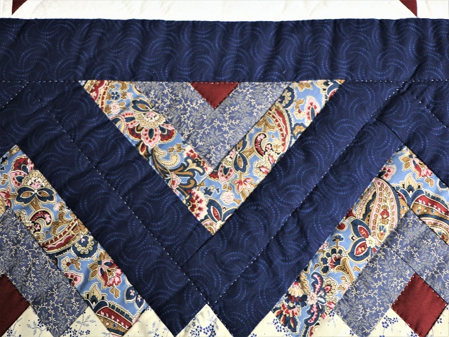 Blue and Burgundy Lone Star Log Cabin Quilt Photo 4