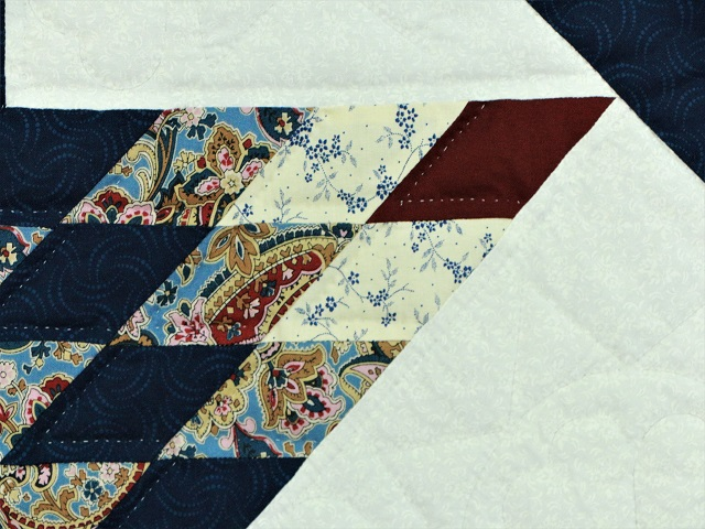 Blue and Burgundy Lone Star Log Cabin Quilt Photo 5