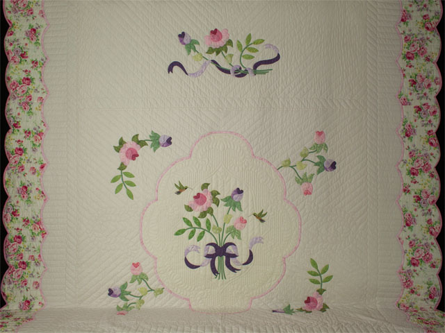 Lancaster Treasure in rose and lilac on ivory Queen size hand appliqued and hand quilted Photo 2
