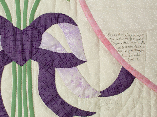Lancaster Treasure in rose and lilac on ivory Queen size hand appliqued and hand quilted Photo 6
