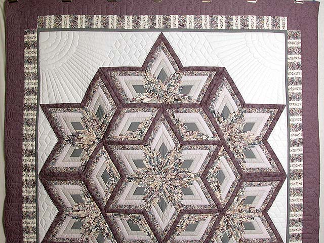 Lavender Diamond Log Cabin Star Quilt Photo 2