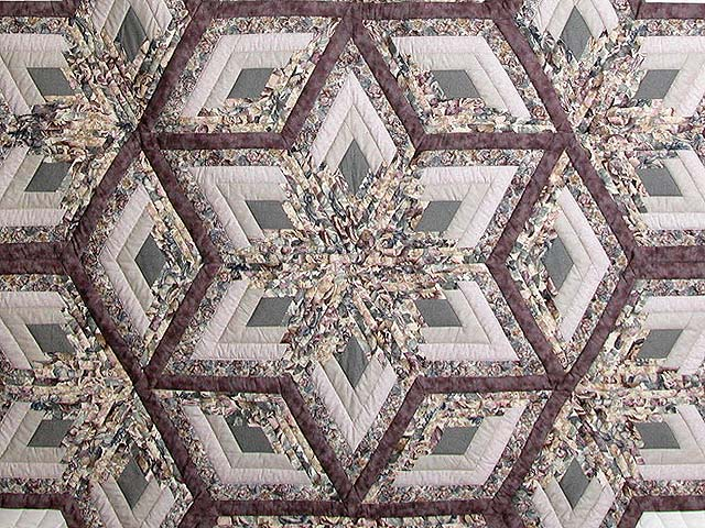 Lavender Diamond Log Cabin Star Quilt Photo 3