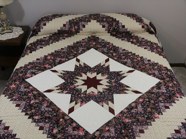 Navy Rose and Burgundy Lone Star Log Cabin Quilt Photo 1