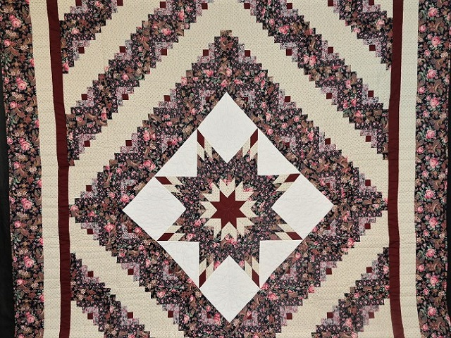 Navy Rose and Burgundy Lone Star Log Cabin Quilt Photo 2