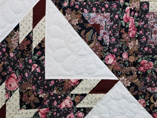 Navy Rose and Burgundy Lone Star Log Cabin Quilt Photo 4