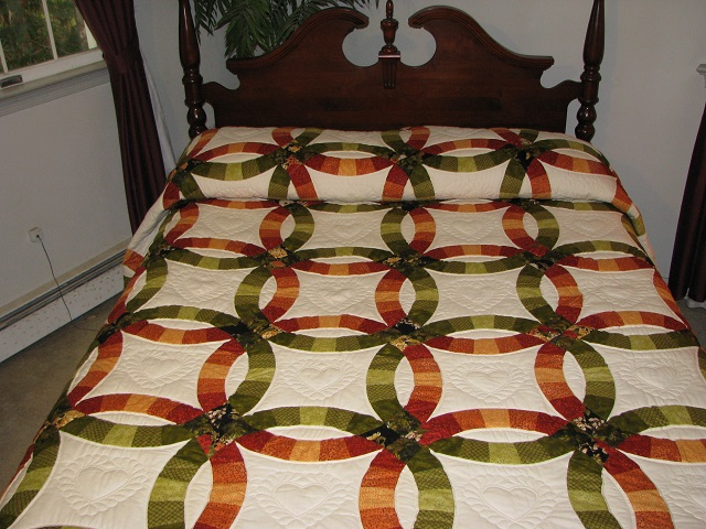 King Autumn Colors Double Wedding Ring Quilt Photo 1