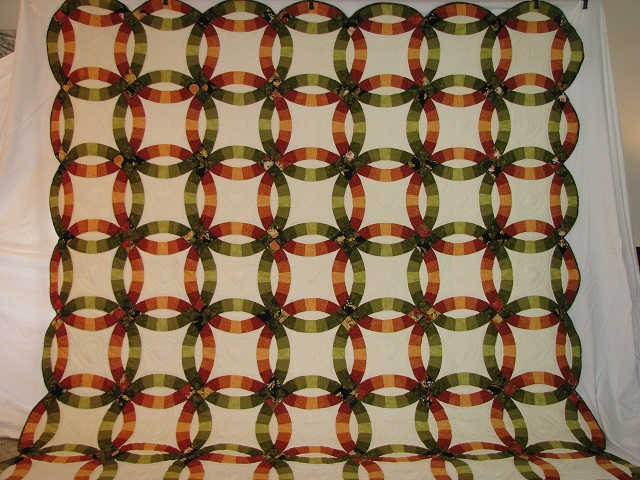 King Autumn Colors Double Wedding Ring Quilt Photo 2