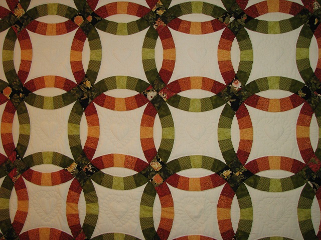 King Autumn Colors Double Wedding Ring Quilt Photo 3