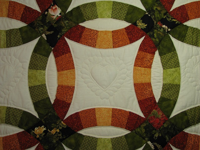 King Autumn Colors Double Wedding Ring Quilt Photo 4