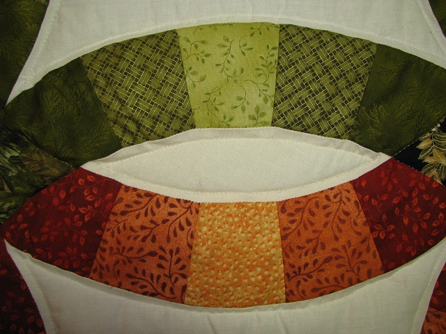 King Autumn Colors Double Wedding Ring Quilt Photo 5