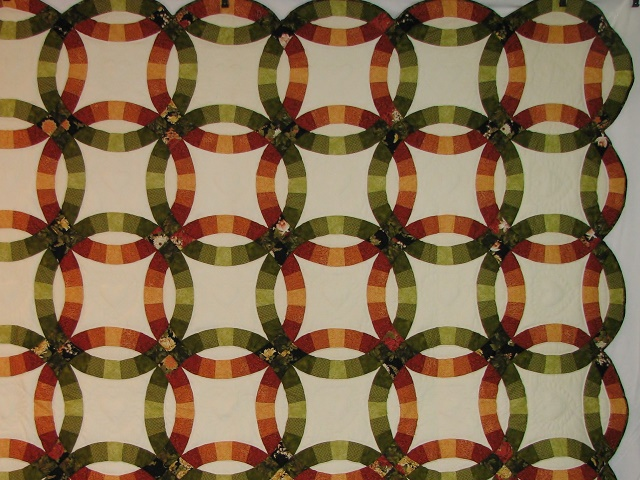 King Autumn Colors Double Wedding Ring Quilt Photo 6