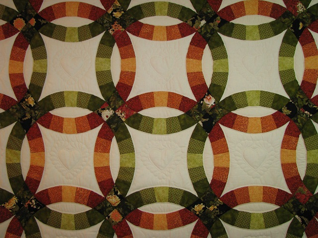 King Autumn Colors Double Wedding Ring Quilt Photo 8