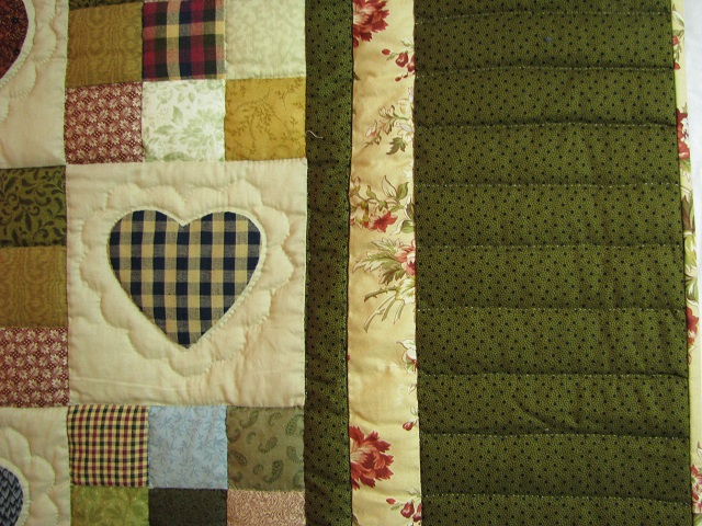 King Green Hearts and Nine Patch Quilt Photo 4
